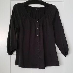 Express 3/4 length black button down blouse